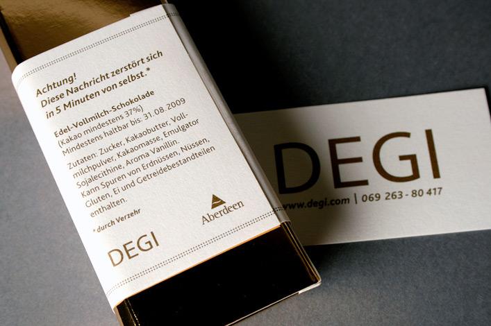 Deutsche Gesellschaft für Immobilienfonds DEGI-Lounge Mailing Stufe 2 Rückseite Goldbarren // Foto: ©Agentur Kappa GmbH