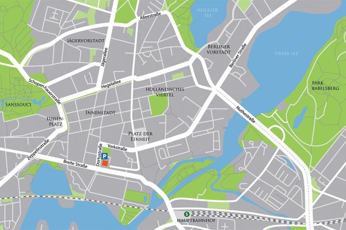 Karte Anfahrt Dortustraße 46 in 14467 Potsdam
